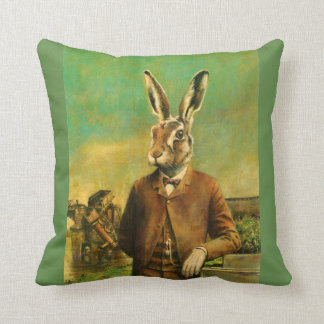 Victorian Hare Vintage Throw Cushion