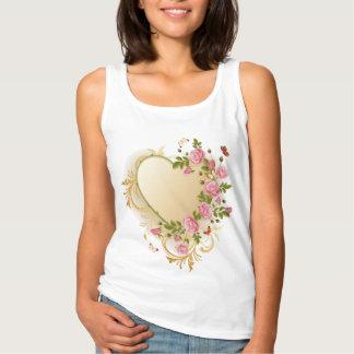Victorian Heart White Tank Top