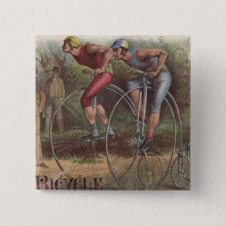 Victorian High Wheel Bicycles 2 Inch Square Button