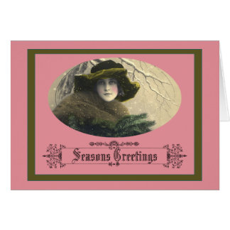 Victorian Holiday Card With Woman and Evergreens