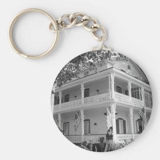 Victorian Home in Black & White Keychain