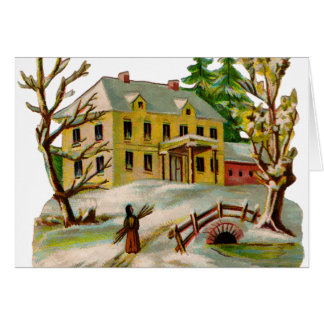Victorian Home in Winter Card
