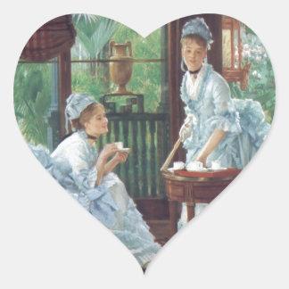 Victorian House Party Tea Fashion Tissot Heart Sticker