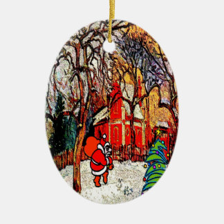 Victorian House with Santa Ceramic Ornament