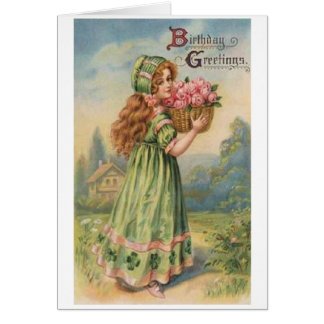 Victorian Irish Girl Birthday Card