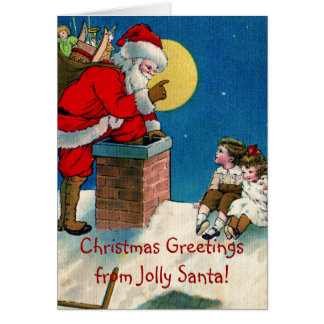 Victorian Jolly Santa w/Children Christmas Greetin Card
