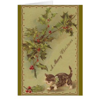 Victorian Kitten and Holly Christmas Greeting Card