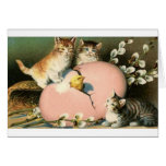 Victorian Kittens And Hatching Chick Easter Card