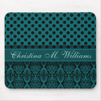 Victorian Lace Black Teal Damask Polka Dot Pattern Mouse Pad