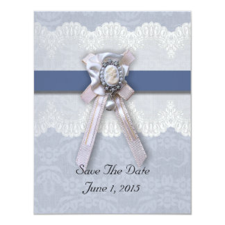 Victorian Lace Blue Cameo Save The Date Cards