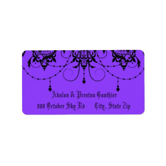 Victorian Lace Purple Wedding Address Label