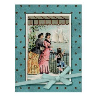 Victorian Ladies & Girl Vintage Reproduction Postcard