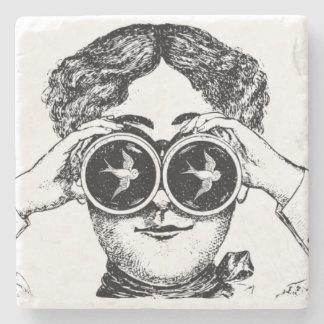 Victorian Lady Bird Watcher Binoculars Coasters
