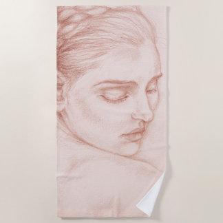 Victorian Lady Drawing Portrait Beach Towel