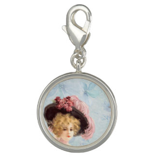 Victorian Lady in Feathered Hat Charm