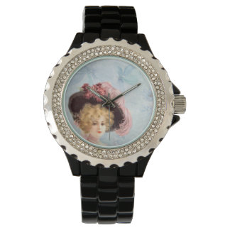 Victorian Lady in Hat Rhinestone Black Enamel Watch
