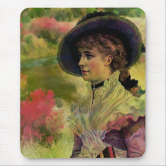 Victorian Lady Painting Design Mouse Pad