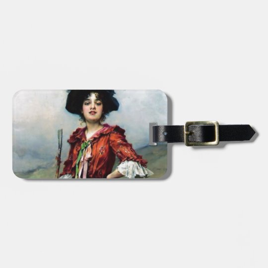 Victorian lady painting luggage tag