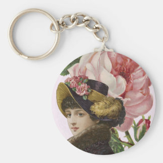 Victorian Lady Pink Roses Basic Round Button Keychain