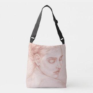 Victorian Lady Portrait Drawing Crossbody Bag