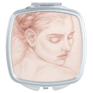 Victorian Lady Portrait Drawing Makeup Mirror