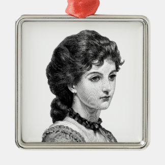 Victorian lady Silver-Colored square ornament