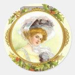Victorian Lady Sticker Round Sticker
