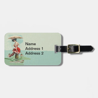 Victorian Lady Umbrella Ocean Red bathing Suit Luggage Tag