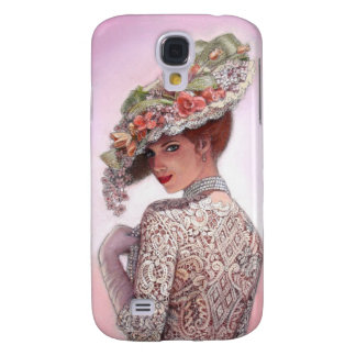 Victorian Lady vintage floral hat fine art Galaxy S4 Cover