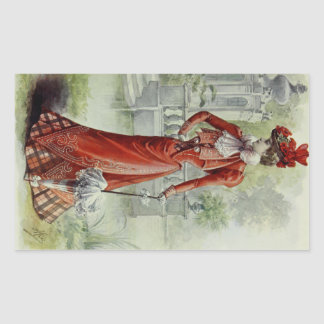 Victorian Lady – Vintage French Fashion – Red Dres Sticker