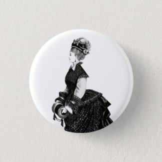 Victorian lady with bustle badge 1 inch round button