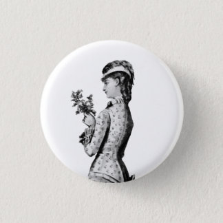 Victorian lady with flowers 1 inch round button