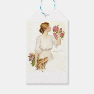 Victorian Lady with Pink Roses & Dog Gift Tags Pack Of Gift Tags