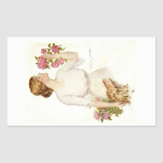 Victorian Lady with Pink Roses & Dog Sticker