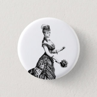 Victorian lady with plume badge 1 inch round button