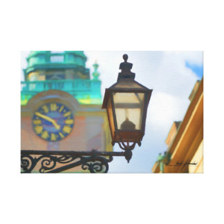 Victorian Lamp Post and Clock Canvas Print