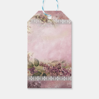 Victorian Lilacs w White Lace Frame lavender pink Pack Of Gift Tags