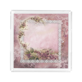 Victorian Lilacs w White Lace Frame lavender pink Perfume Tray