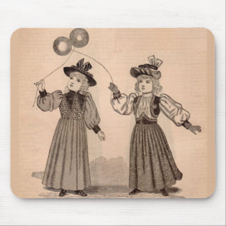 Victorian little girls with balloons mouse pad