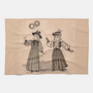Victorian little girls with balloons print kitchen towel