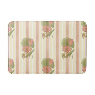 Victorian lotus flower print bath mat