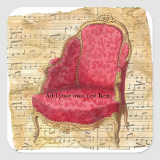 Victorian Lounge Chair Musical Score Background 1 Square Sticker