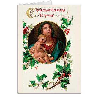 Victorian Madonna and Child Christmas Blessings Card