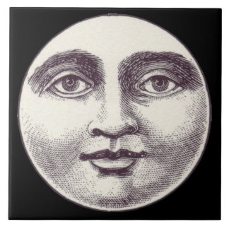 Victorian man in the moon ceramic tile