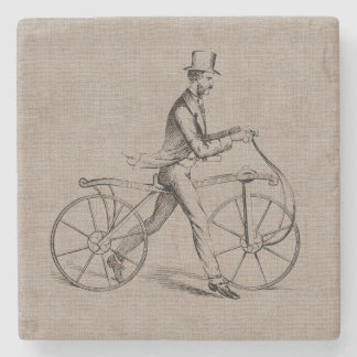Victorian Man on Bicycle Vintage Steampunk Drawing Stone Coaster