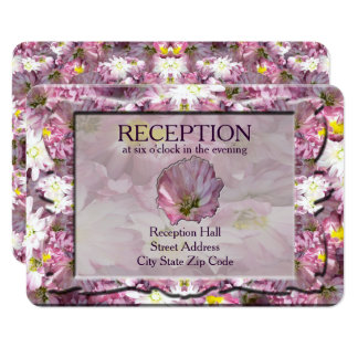 Victorian Mauve Floral Reception Card