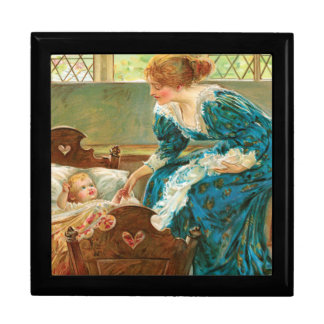 Victorian Mother Tending Her Baby In A Cradle Jewelry Box