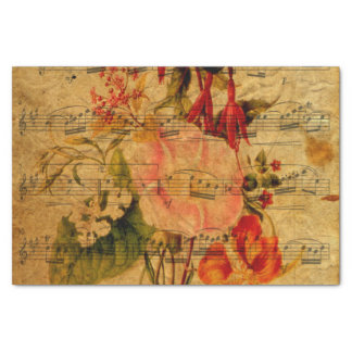 Victorian Music Sheet Watercolor Flower Wallpaper Tissue Paper