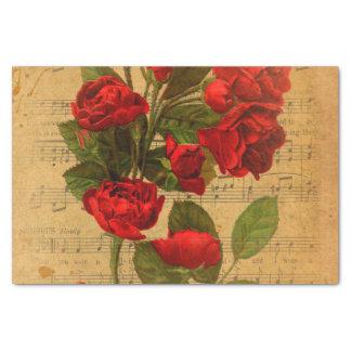 Victorian Music Sheet Watercolor Rose Wallpaper Tissue Paper