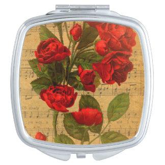Victorian Music Sheet Watercolor Rose Wallpaper Vanity Mirror